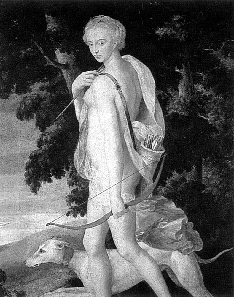 Рис. 4. Древнегреческая богиня охоты Диана со своим верным охотничьи псом