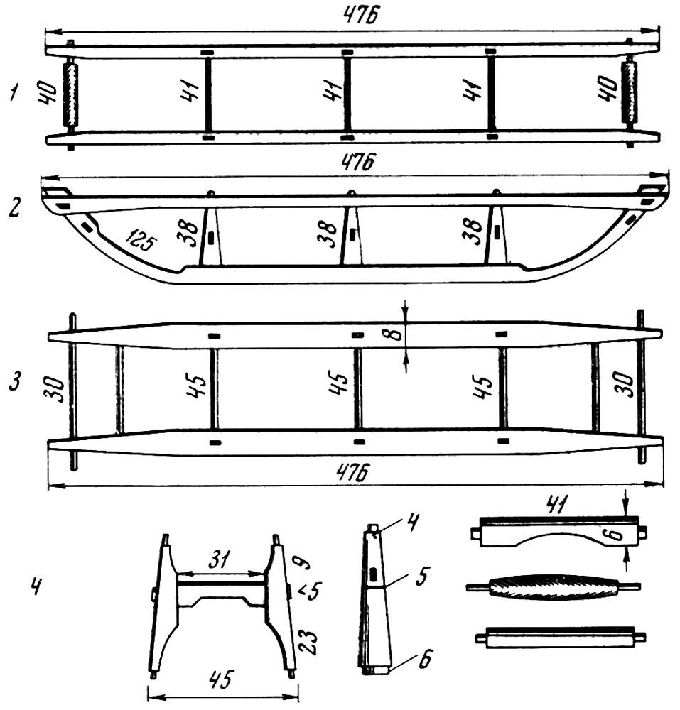 Нанайская охотничья грузовая нарта (размеры даны в сантиметрах)