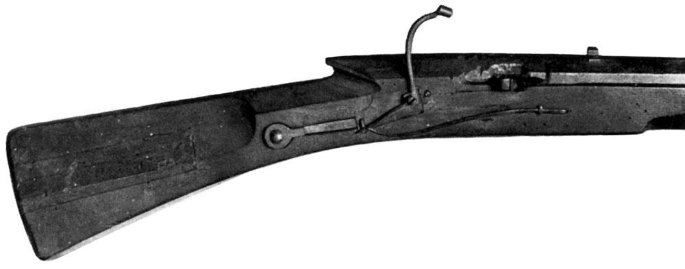 Охотничья ручница с пружинным фитильным замком и кнопочным спуском