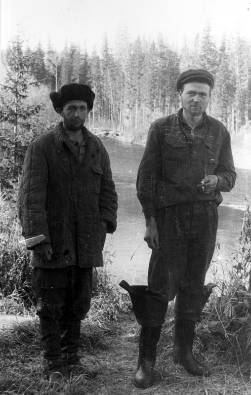 Ф.Штильмарк и В.Базыльников после «блуда». Иркутская обл., р. Поворотная (1969 г.)