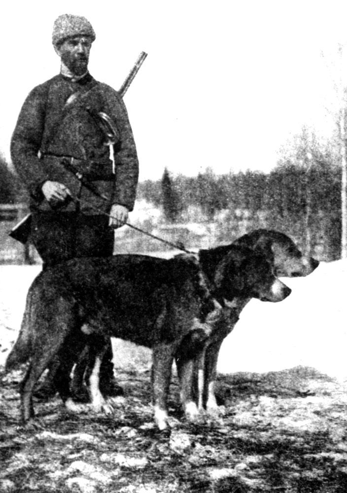Н. П. Кишенский со своими выжлецами: Добываем и Шумилой IV
